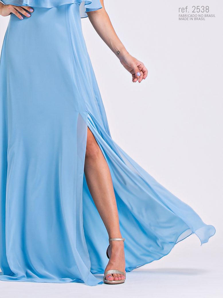Vestido azu lserenity com fenda na saia
