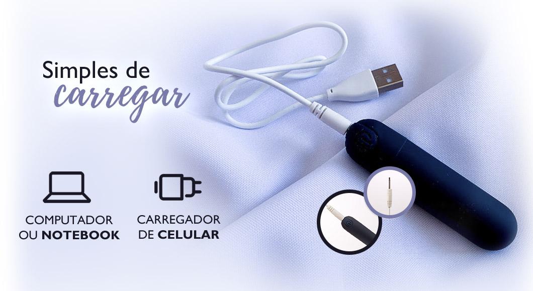Sensevibe Touch é simples de carregar, acompanha cabo USB