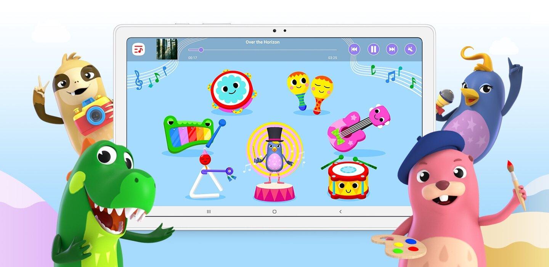 Leve para as crianças uma sala de aula e um parquinho infantil digitais