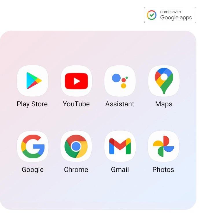 Os aplicativos Google instalados no Galaxy A52 5G são mostrados (Play Store, YouTube, Assistente, Maps, Google, Chrome, Gmail, Fotos).