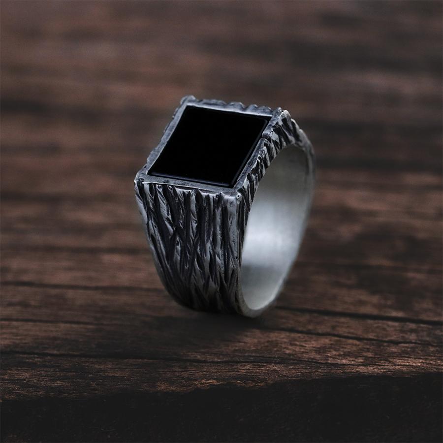 anel de prata masculino com pedra preta onix