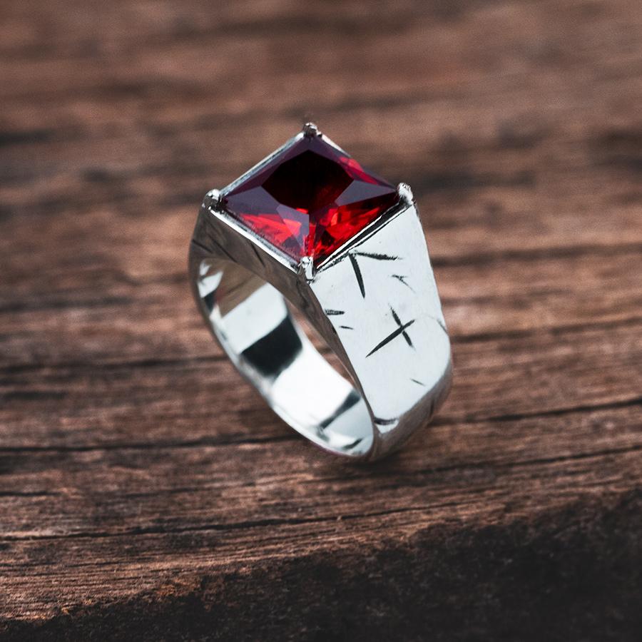 anel de prata masculino com pedra