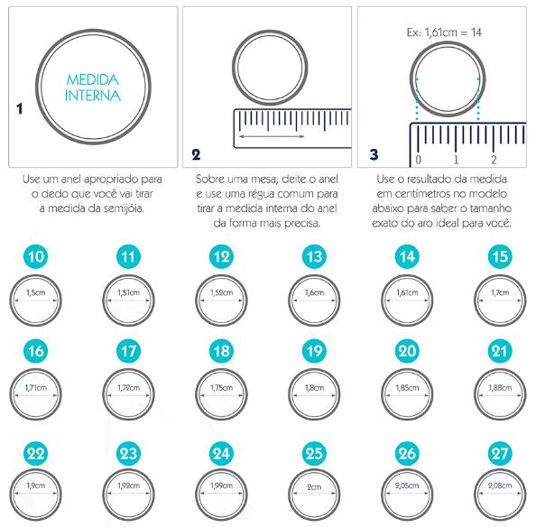 Tabela de medidas para anéis Amo Pratas