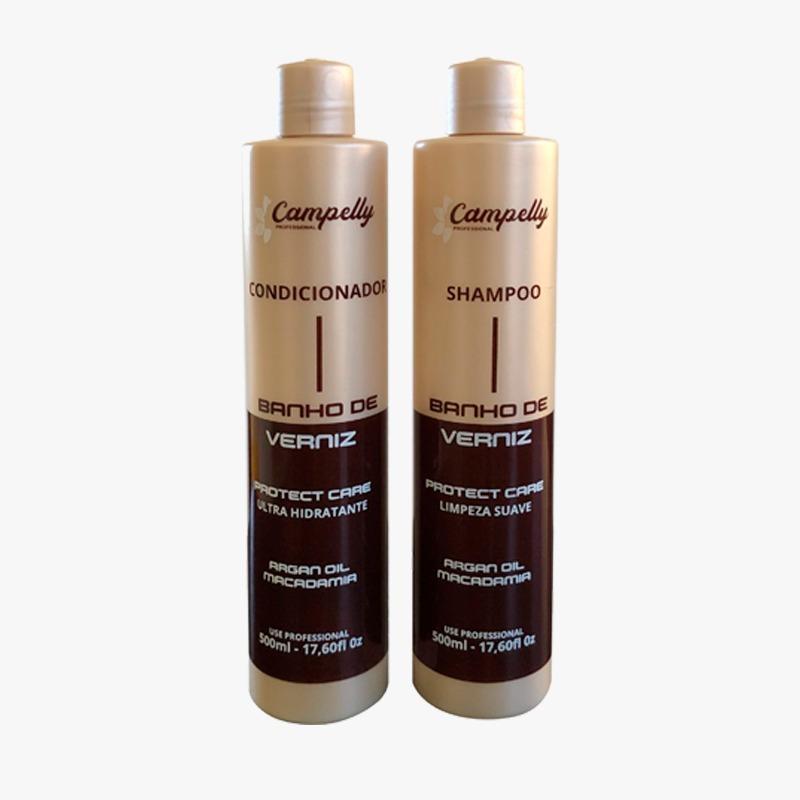kit banho de verniz shampoo condicionador campelly 500 ml cada