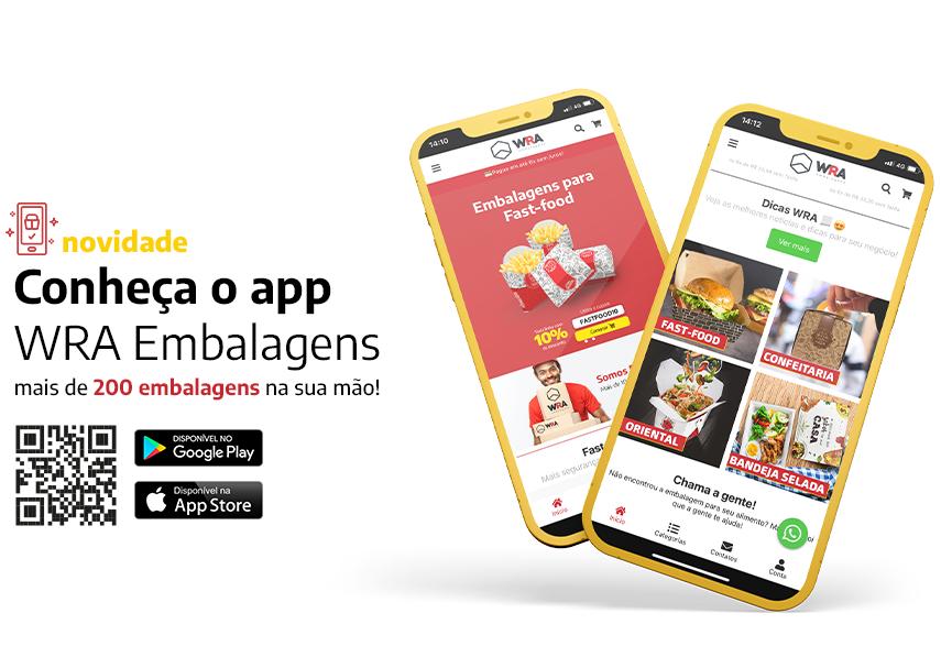 WRA Embalagens, aplicativo para seu delivery ficar mais completo