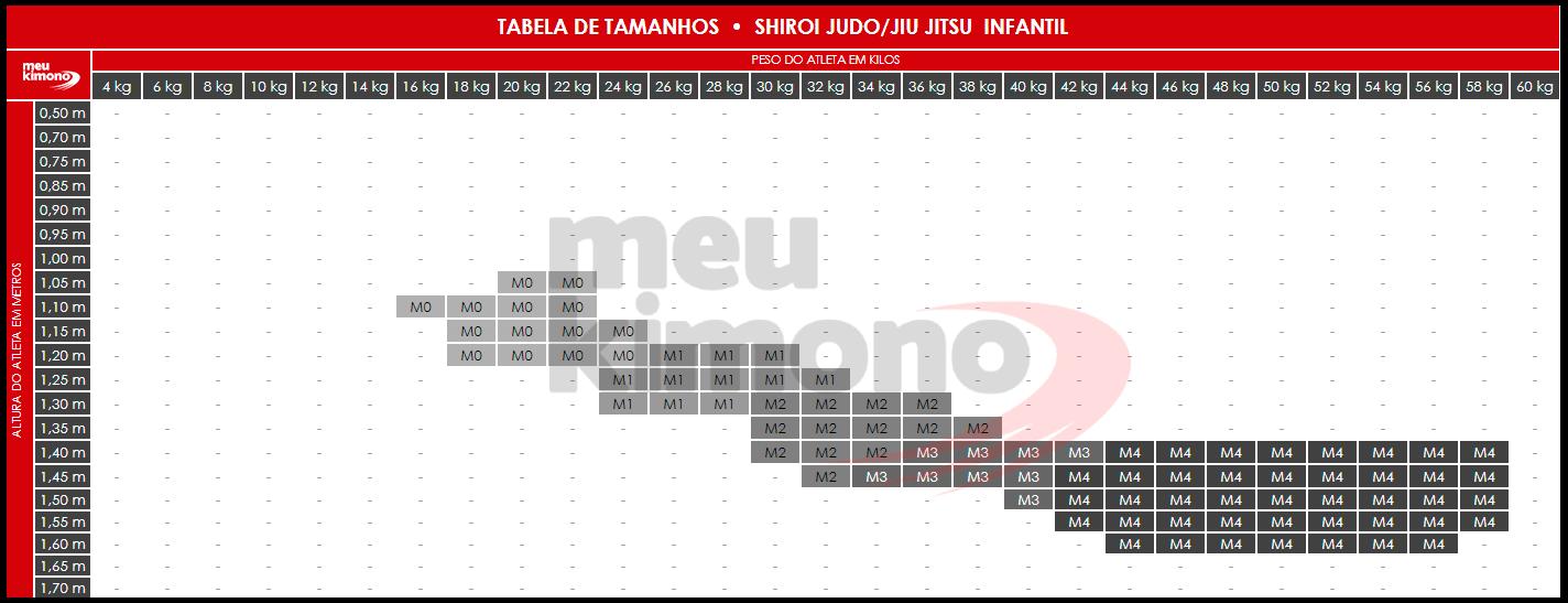 Tabela de Tamanho Shiroi Judô