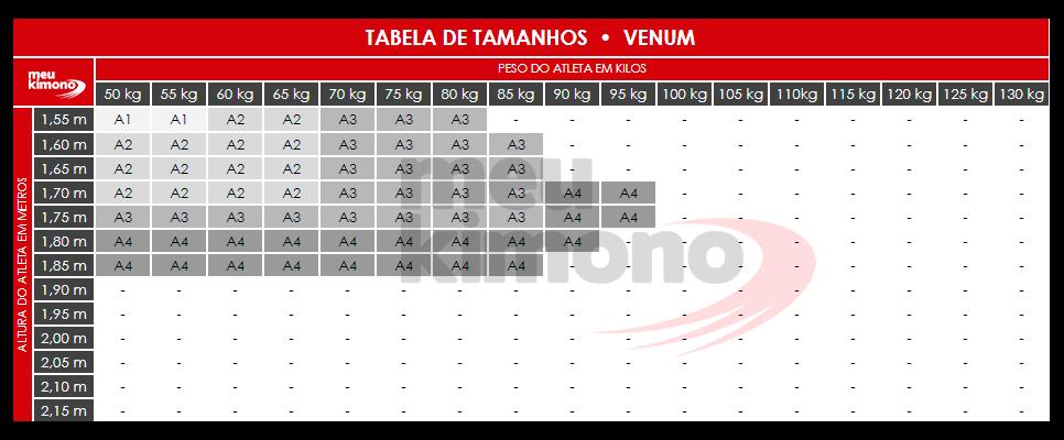 Tabela De Tamanhos Venum