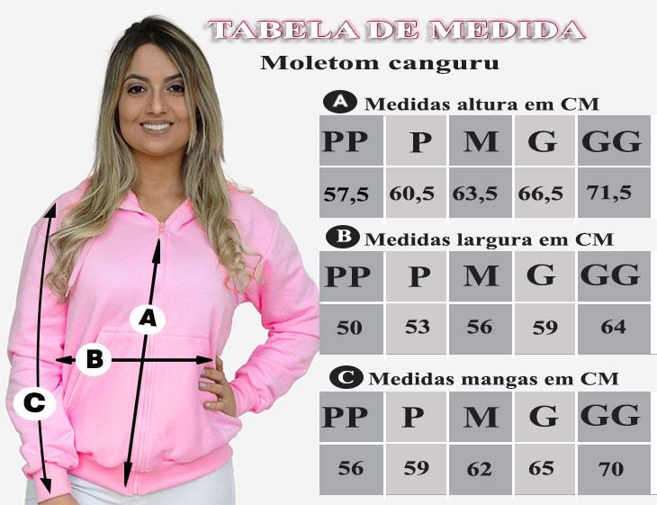 TABELA DE MEDIDAS DO MOLETOM COM ZIPER E CAPUZ FEMININO ROSA CHICLETE