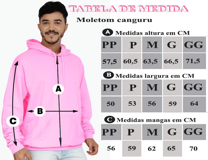 TABELA DE MEDIDAS DO MOLETOM CANGURU MASCULINO ROSA CHICLETE