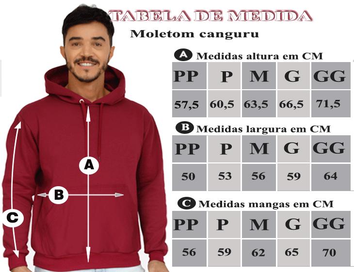TABELA DE MEDIDAS DO MOLETOM CANGURU MASCULINO VINHO