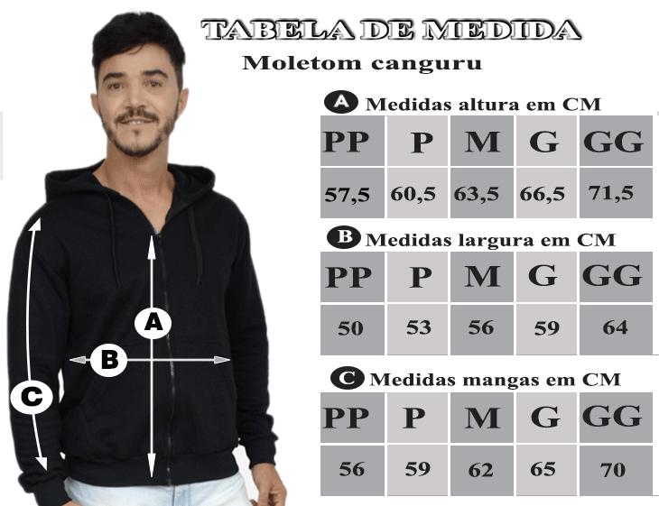 TABELA DE MEDIDAS DO MOLETOM MASCULINO COM CAPUZ E ZIPER PRETO