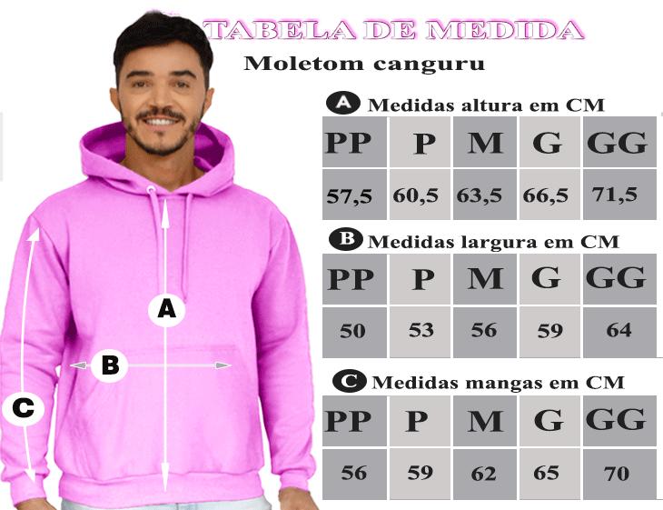 TABELA DE MEDIDAS DO MOLETOM MASCULINO COM CAPUZ E ZIPER ROSA CHICLETE