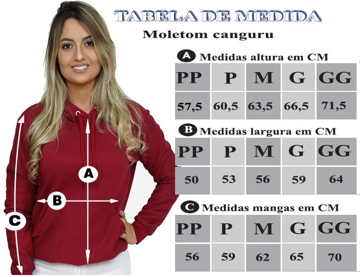 TABELA DE MEDIDAS DO MOLETOM CANGURU FEMININO VINHO