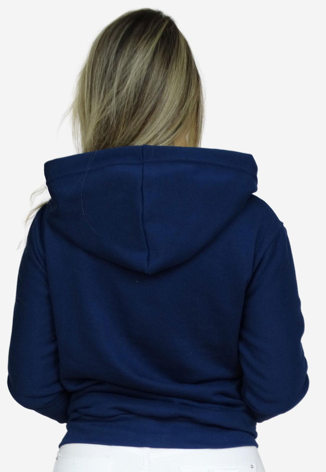 Moletom  com ziper e capuz feminino  azul
