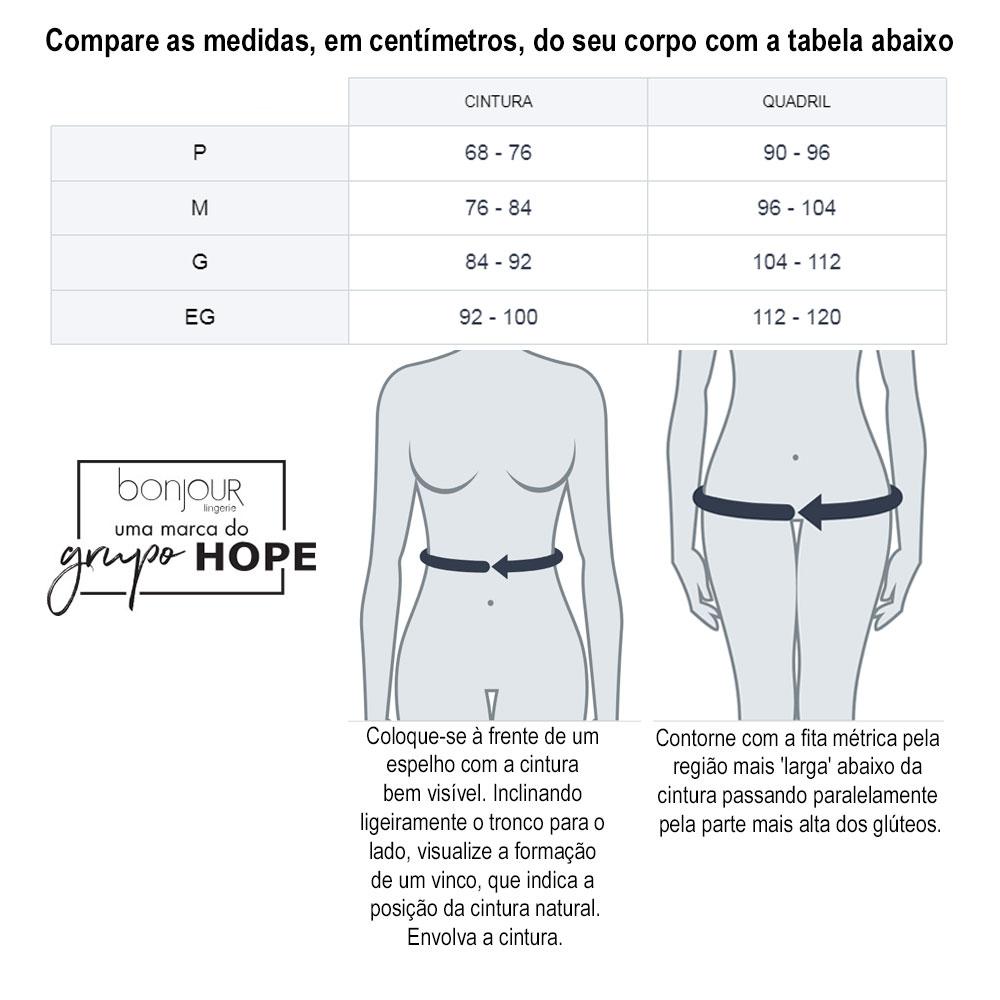 Tabela de medidas para calcinhas Hope