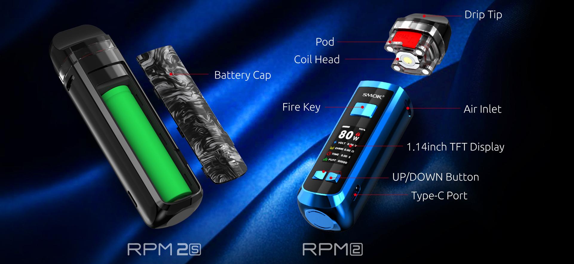 Vape RPM 2 80W 2000mAh Starter Kit - Smok - visão expandida