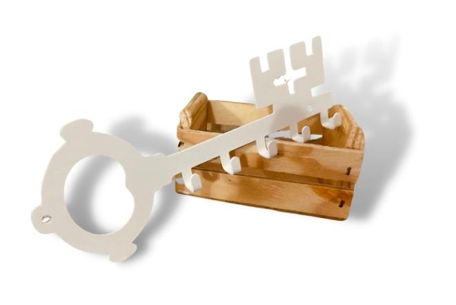 Porta Chaves de Parede Clássico Branco Aço