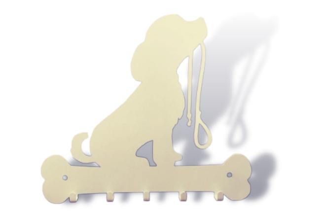 Porta-coleira suporte organizador dog puppy branco Aço Inox