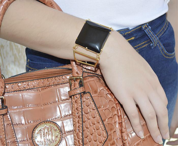 bracelete de agata preta quadrado