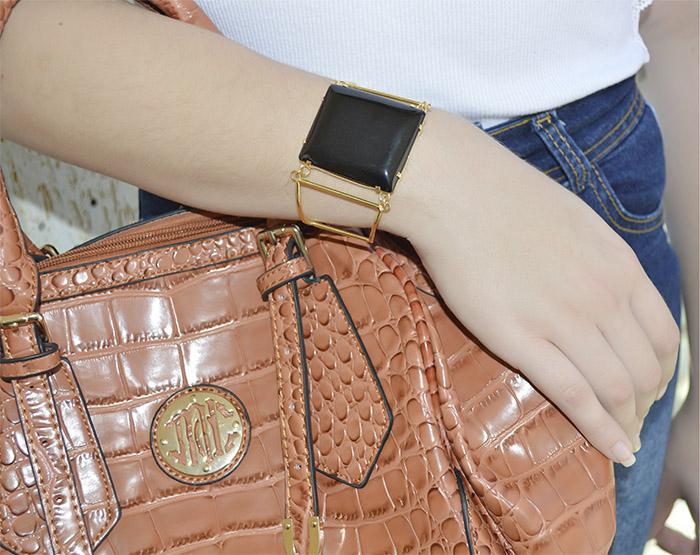 bracelete de pedra natural folheado a ouro