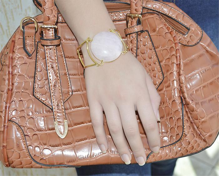bracelete folheado de quartzo rosa natural