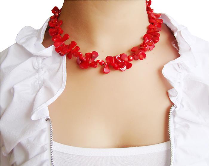 colar de coral vermelho com prata