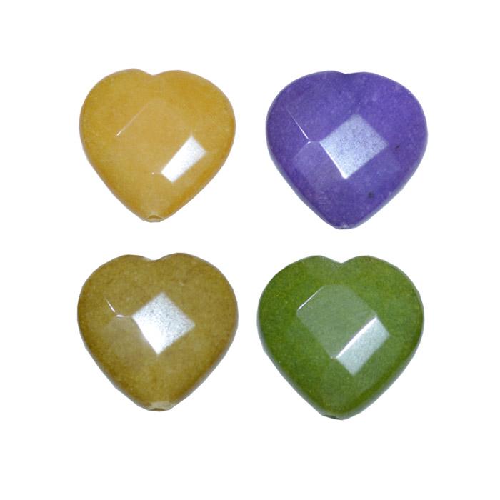 coração de jade natural colorido