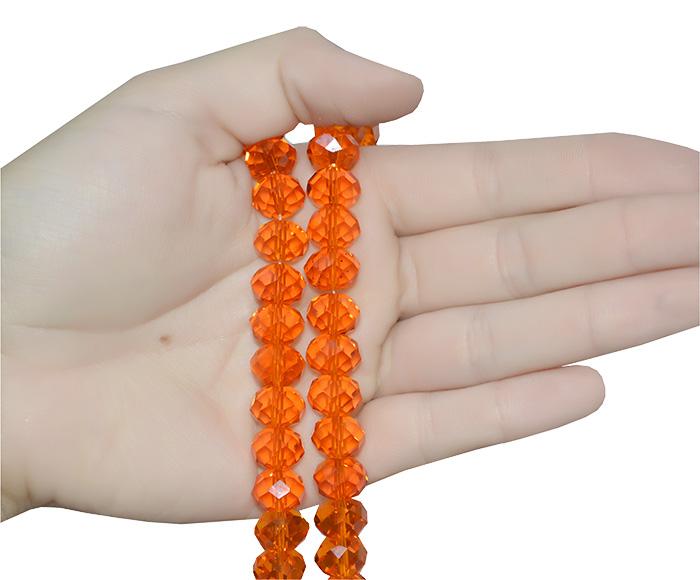 cristal de vidro laranja facetado
