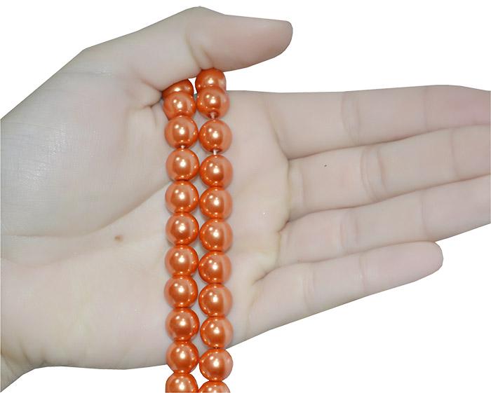 contas de pérola de vidro laranja
