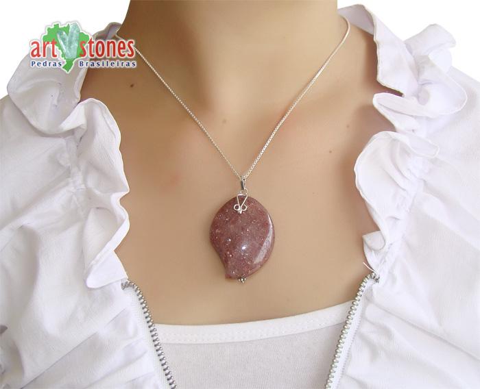 Pingente de jaspe Purpura com prata 925