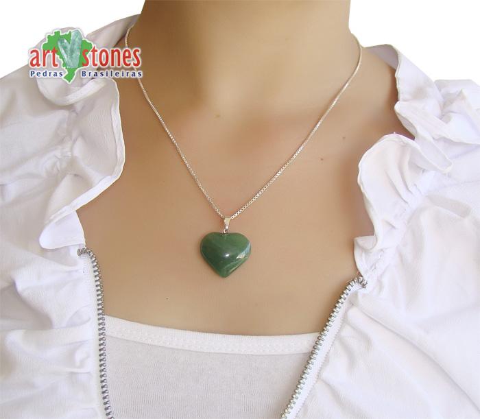 Pingente de Quartzo Verde Coração