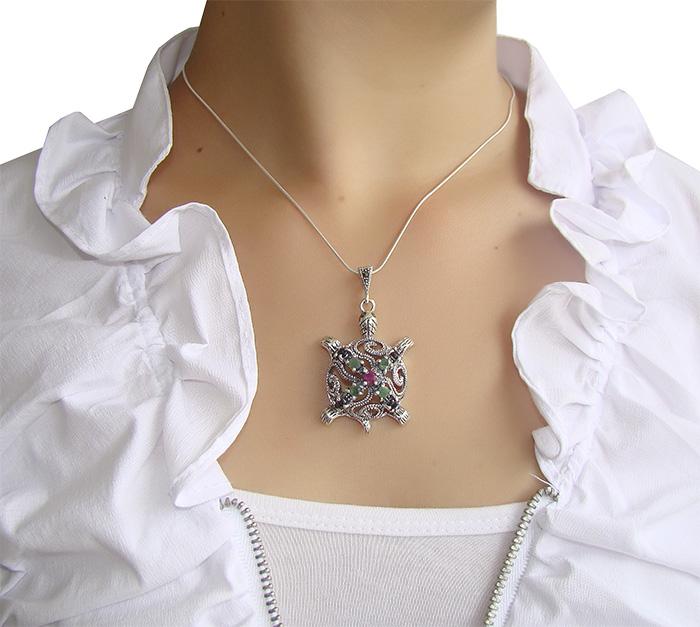 Pingente de Esmeralda com Safira e Rubi Natural com Prata 925