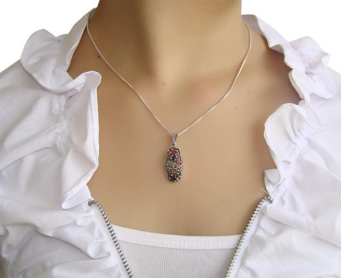 pingente de rubi com prata