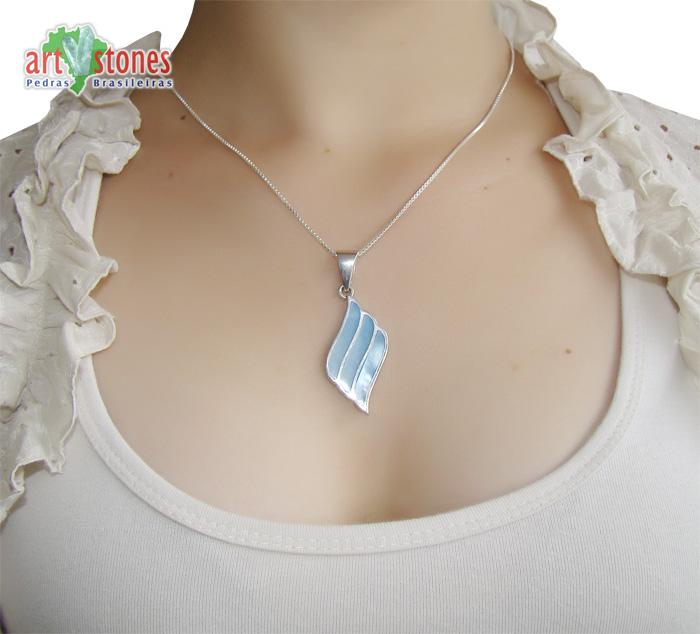 Pingente de Madrepérola Azul com Prata