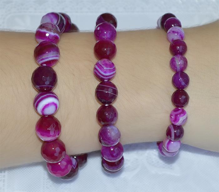 pulseira de ágata rosa