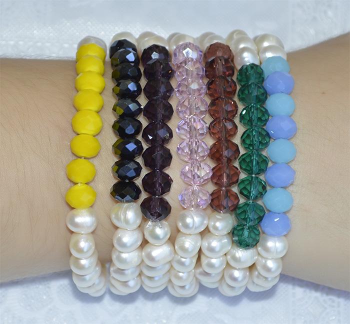 pulseira de cristal colorido