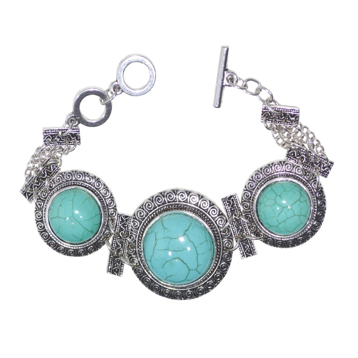bracelete de metal com pedra natural