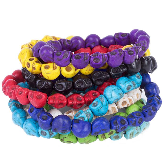 pulseira de caveira colorida