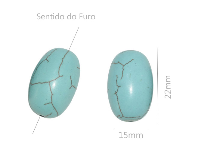 Fio de turquesa azul formato barril