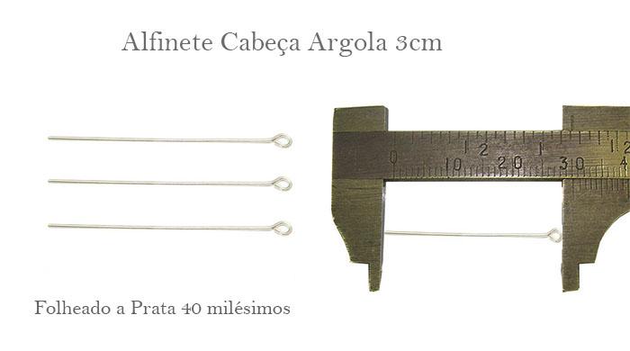 Alfinete 3cm folheado a prata