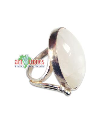 Anel Quartzo Branco prata 925