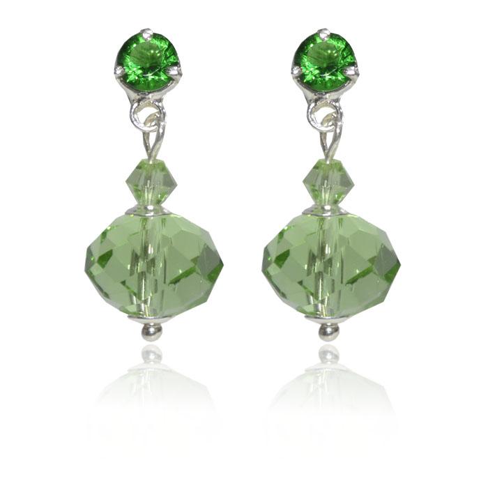 Brinco de Cristal de Vidro Verde