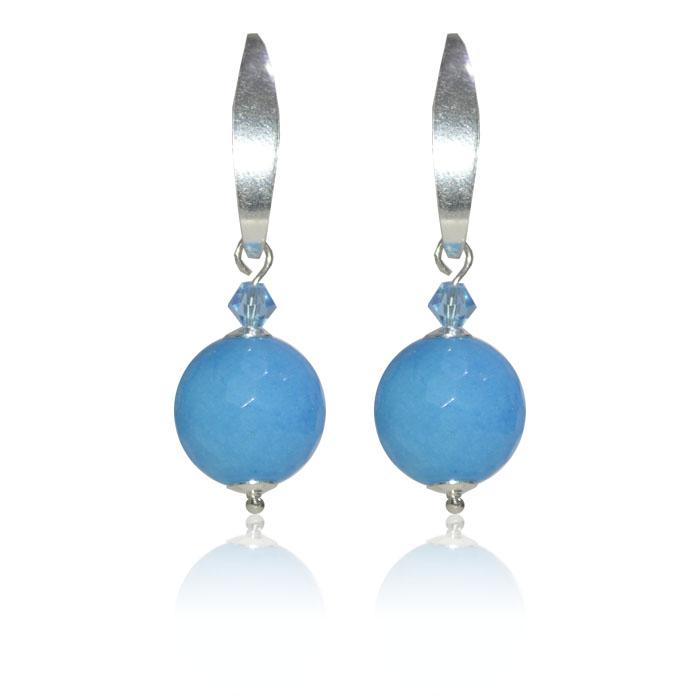 Brinco Jade Azul Facetado Prata 925