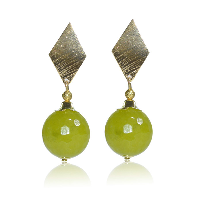 Brinco jade verde facetado