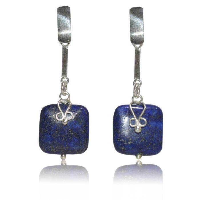 Brinco lápis lazuli natural