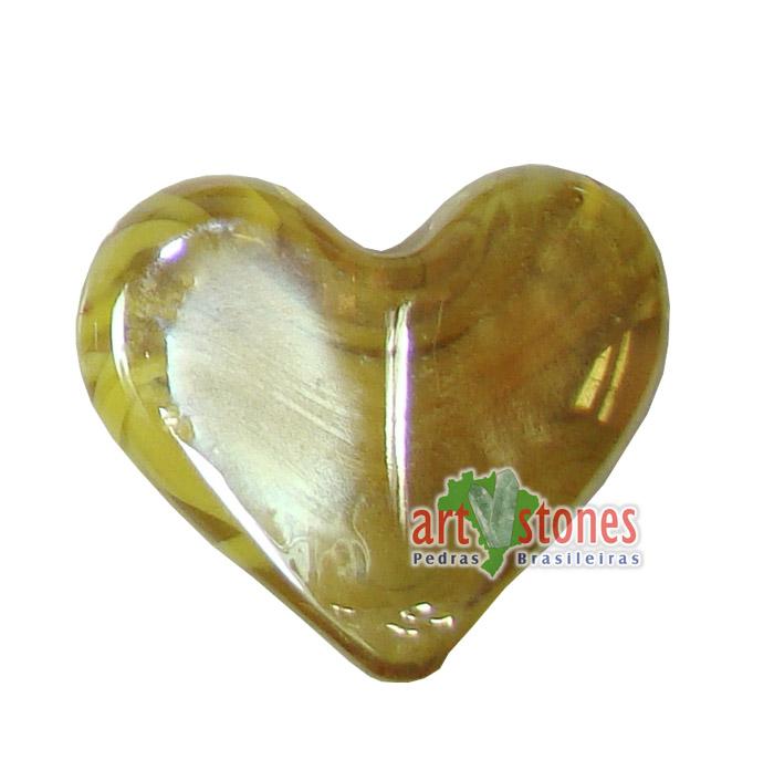 Coração de Murano amarelo