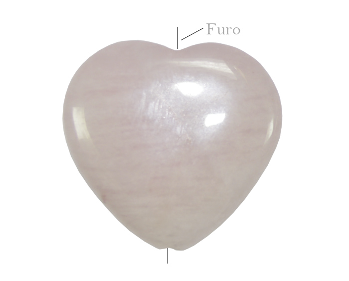 quartzo rosa formato coração