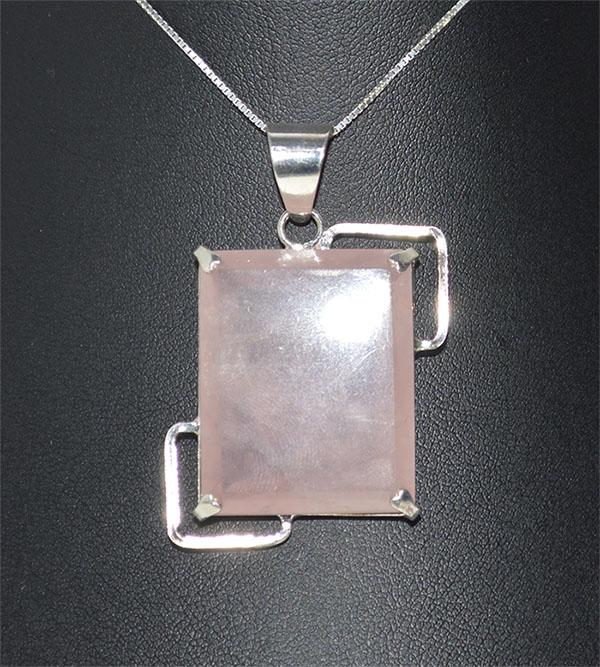 Pingente quartzo rosa natural