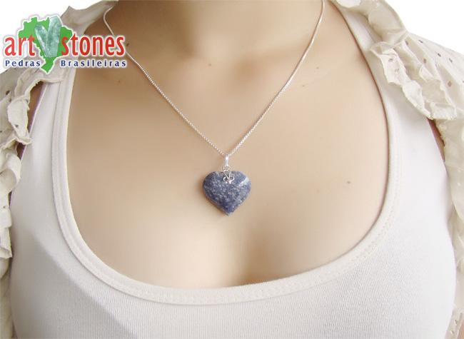 Pingente de Quartzo Azul Coração