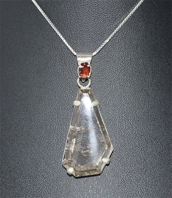 Pingente de cristal com granada prata 925